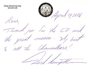 Thank you note from Governor Dirk Kempthorn